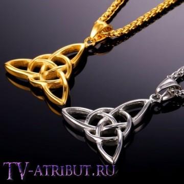 Кулон со знаком трикветра Зачарованных, сталь (цвета - серебро, золото)