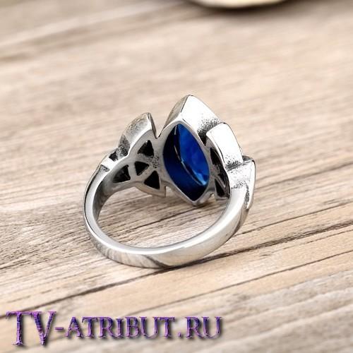 Кольцо с трилистником Зачарованных, сталь, циркон