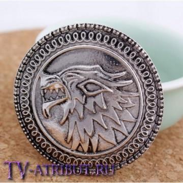 Брошь с гербом дома Старков, лютоволком