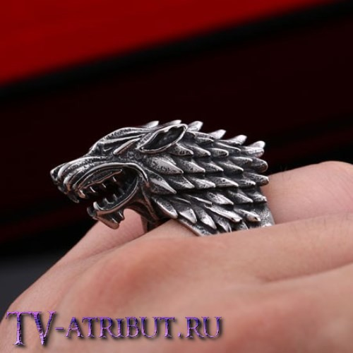 Кольцо с лютоволком Старков, сталь