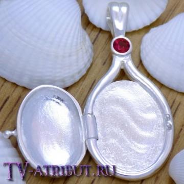 Кулон Рикки, серебро S925, красный кристалл