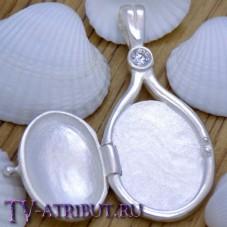 Кулон Клео, серебро S925, белый кристалл