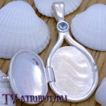 Кулон русалок, серебро S925, светло-голубой кристалл
