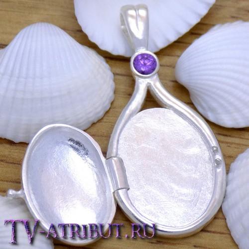 Кулон русалок, серебро S925, сиреневый кристалл