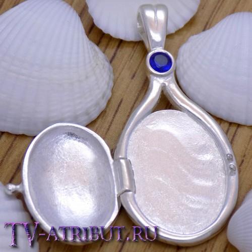 Кулон Эммы, серебро S925, синий кристалл