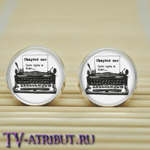 Серьги с пишущей машинкой