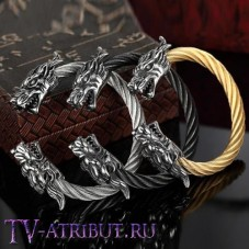 Браслет викингов с драконами (цвета - серебро, чёрный, золото)