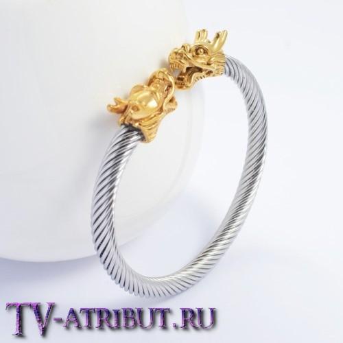Браслет викингов с драконами в золотом исполнении, сталь