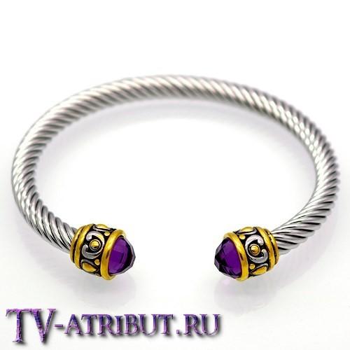 Браслет воительницы викингов, сталь (4 цвета кристаллов)