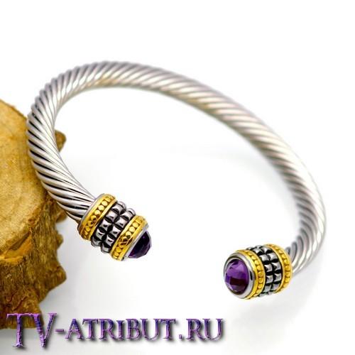 Браслет воительницы, сталь (6 цветов кристаллов)
