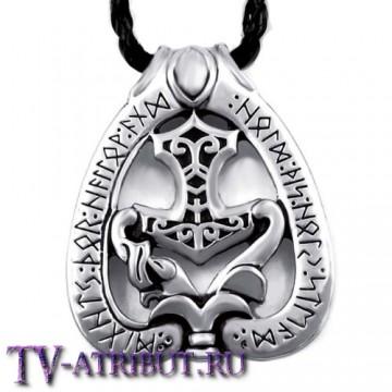 Амулет с молотом бога Тора и рунами