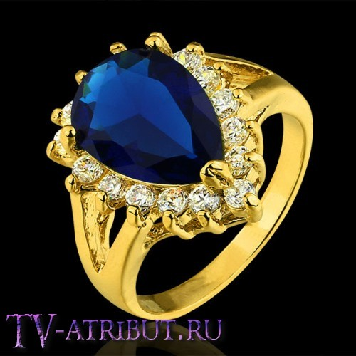 Кольцо Хюррем Султан, позолоченное (4 разных цвета циркона)